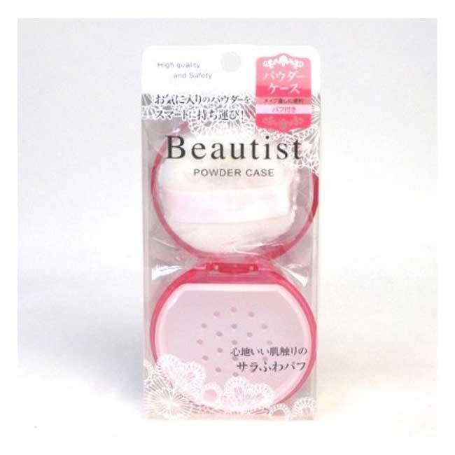 蜜粉盒 Beautist 石原 附粉撲 粉色透明 日本製