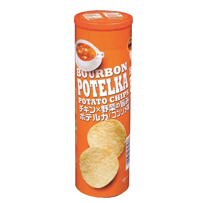 餅乾 日本 Bourbon 濃湯味洋芋片 罐裝 薯片 63g 日本製造進口