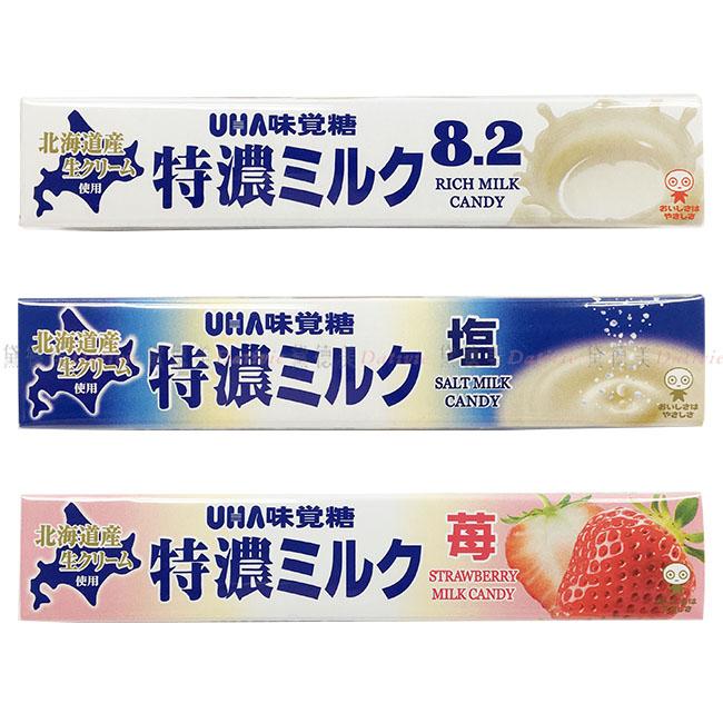 糖果 日本 UHA 味覺糖 特濃牛奶條糖 原味 鹽味 草莓 風味 牛奶糖 37g 日本製造進口