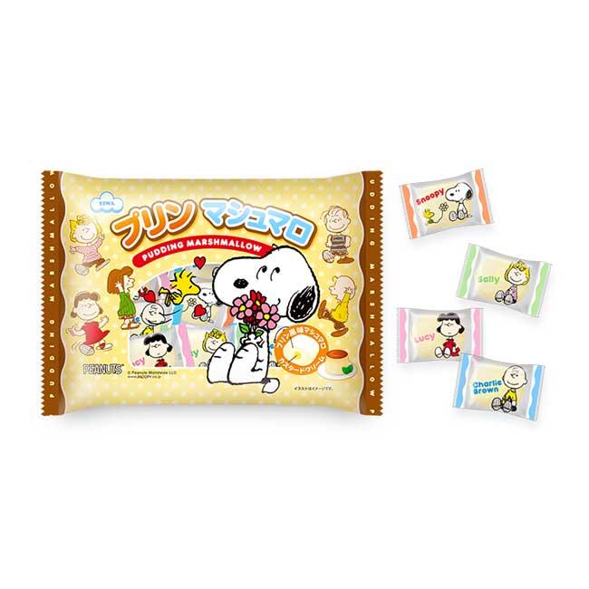 棉花糖 日本 Snoopy 史努比 布丁口味 夾心棉花糖 甜食 糖果 148g 日本製造進口