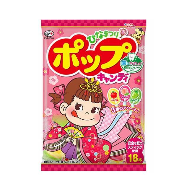 糖果 日本 不二家 牛奶妹 POP棒棒糖 水果口味 蘋果 桃子 白葡萄 104g 日本製造進口