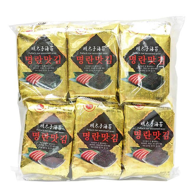 海苔 韓國 京畿道明太子味付海苔 鹹香 包飯 零食 12入/72g 韓國製造進口