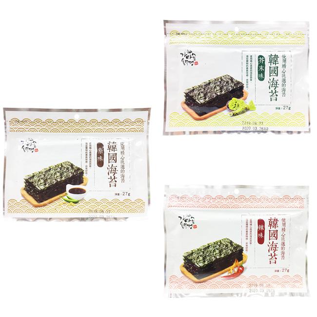 海苔 韓國海苔 原味 辣味 芥末 包飯 壽司 飯捲 27g 韓國製造進口