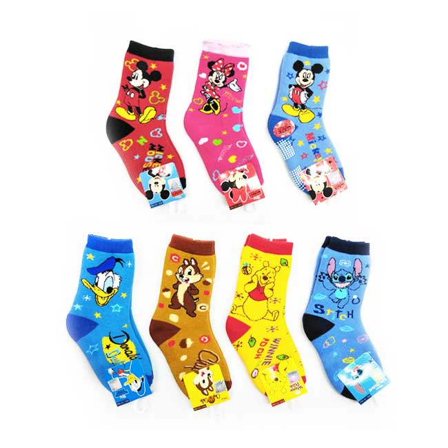 10~12cm 12~14cm 迪士尼 米奇 米妮 唐老鴨 奇奇 小熊維尼 史迪奇 兒童襪 防滑 毛巾襪 中長襪 襪子