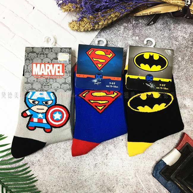 15-18cm 19-21cm 襪子 MARVEL 美國隊長 超人 蝙蝠俠 兒童襪 卡通襪