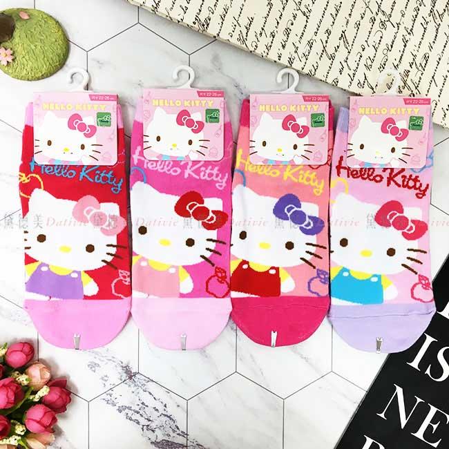 15-22cm 22-26cm 襪子 三麗鷗 Hello Kitty 粉嫩可愛 拼色 桃 粉 粉橘 粉紫 直版襪 孩童襪 成人襪 短襪