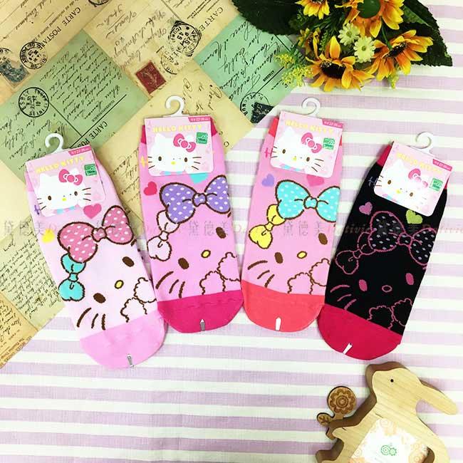 15-22cm 22-26cm 襪子 三麗鷗  Hello Kitty 大臉圖案 黑 粉 直版襪 孩童襪 成人襪 短襪