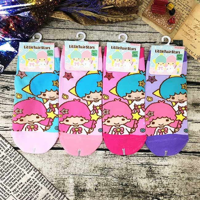 15-22cm 22-26cm 襪子 三麗鷗 雙子星 KIKILALA 星星 直版襪 孩童襪 成人襪 短襪