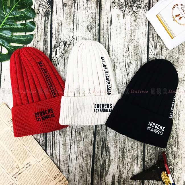 毛帽 英文字母 線條 直條紋 潮流 時尚 百搭 內刷毛 毛線帽 帽子