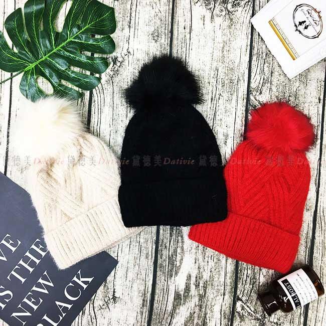 毛帽 交叉編織 毛球 白 黑 紅 百搭 內刷毛 毛線帽 帽子