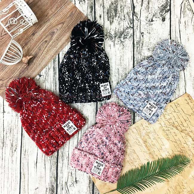 毛帽 混色編織 毛球 雪花感 紅 黑 灰 粉 百搭 內刷毛 毛線帽 帽子