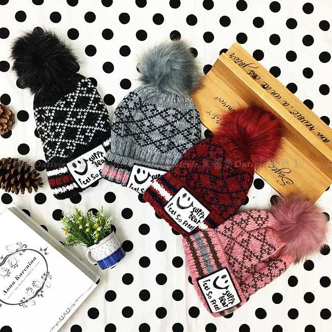 毛帽 菱格紋 撞色條紋 英文字母 毛球 黑 灰 紅 粉 百搭 內刷毛 毛線帽 帽子