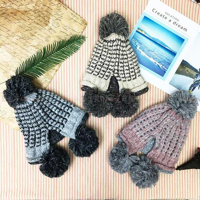 毛帽 遮耳 毛球 撞色編織 灰 米白 粉 百搭 毛線帽 帽子