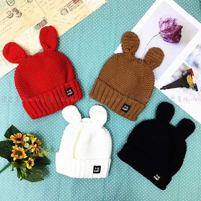 毛帽 兔耳 可愛 編織 紅 棕 白 黑 百搭 內刷毛 毛線帽 帽子