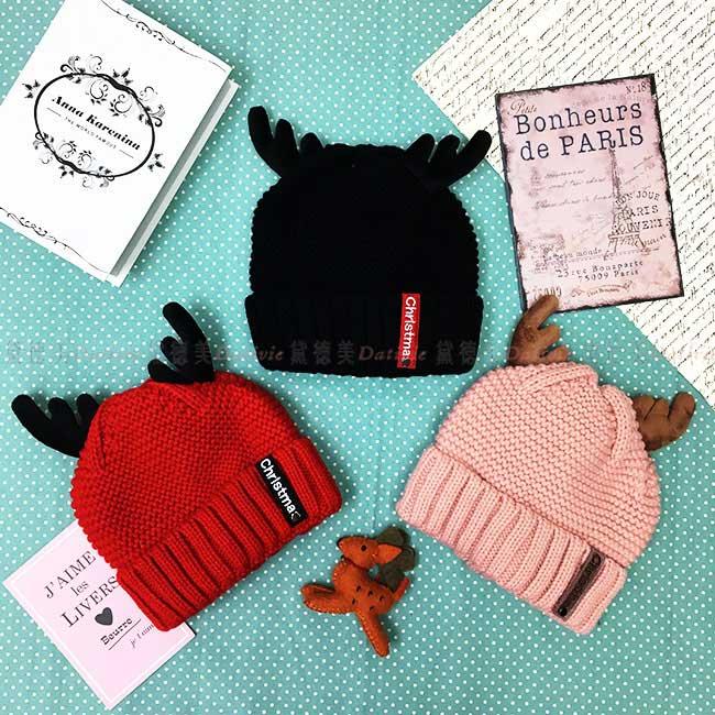 毛帽 鹿角 可愛 聖誕節 紅 黑 粉 百搭 內刷毛 毛線帽 帽子