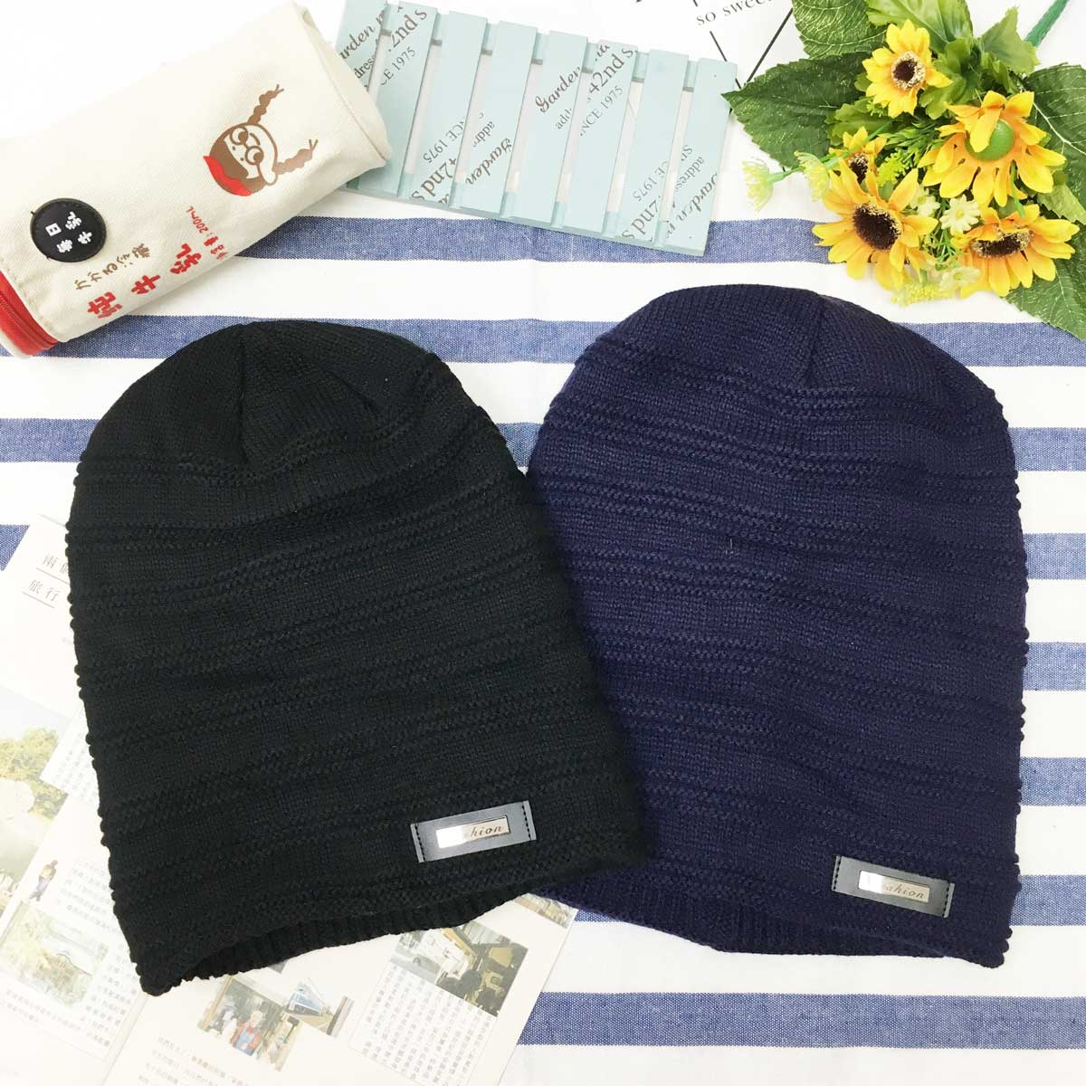 帽子 男士 皮革標 金屬logo 針織 內刷毛 深藍毛線毛帽