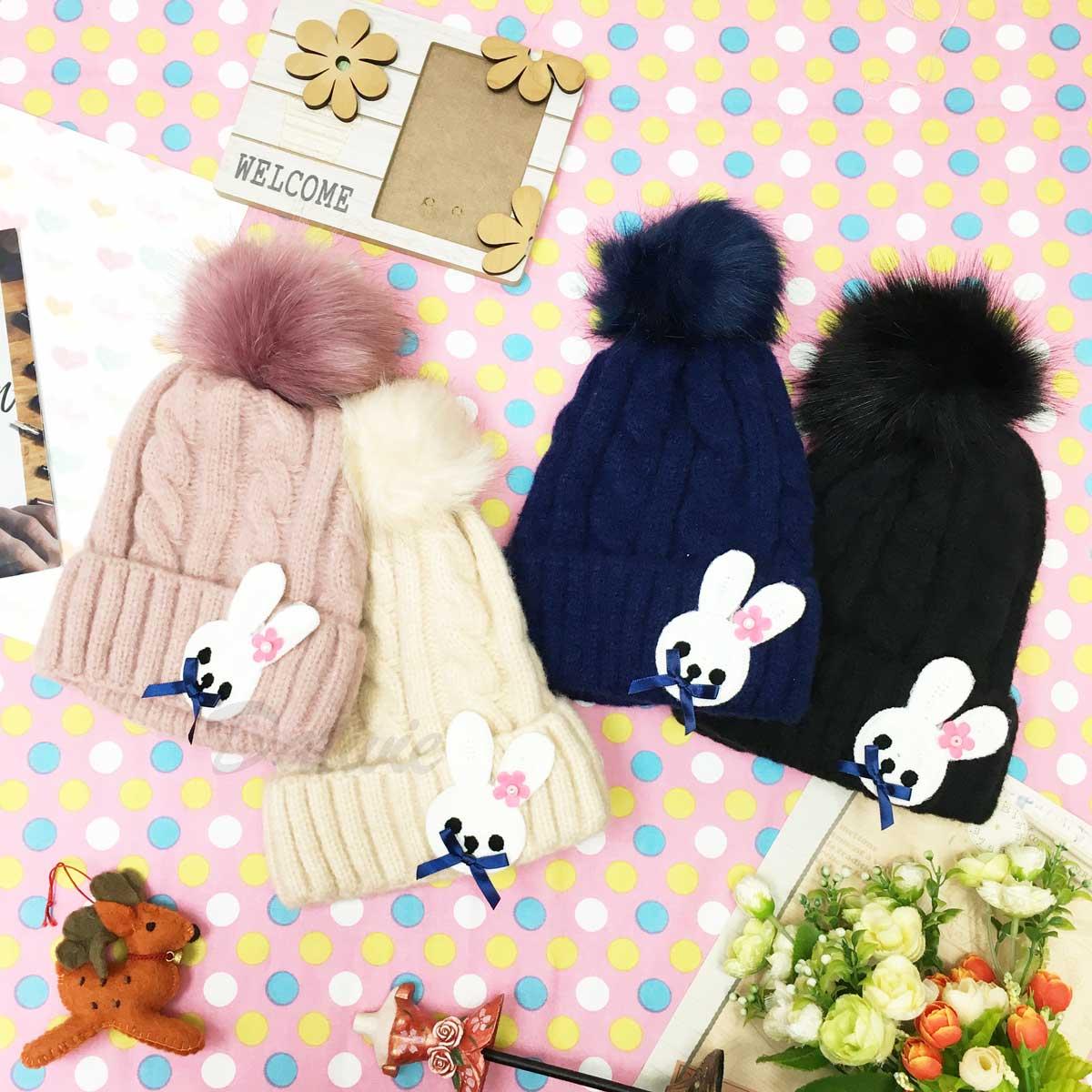 帽子 兔兔 卡通 內刷毛 毛球 毛衣編織 毛帽 四色