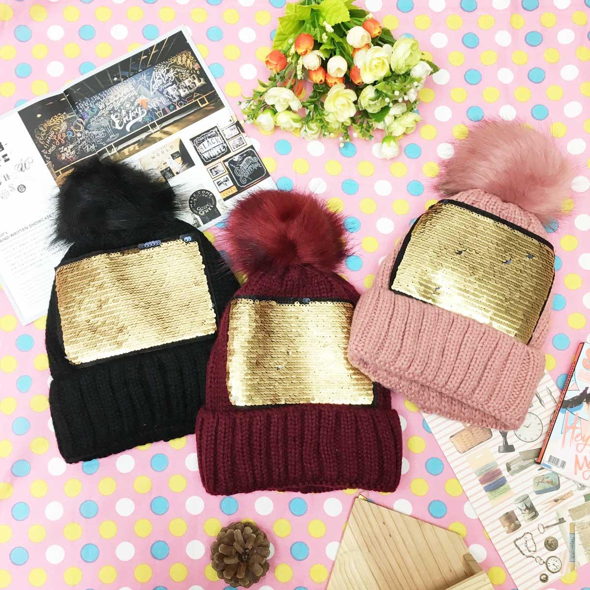 帽子 亮片 撞色 內刷毛 毛球 變色 保暖 編織 毛帽 三色