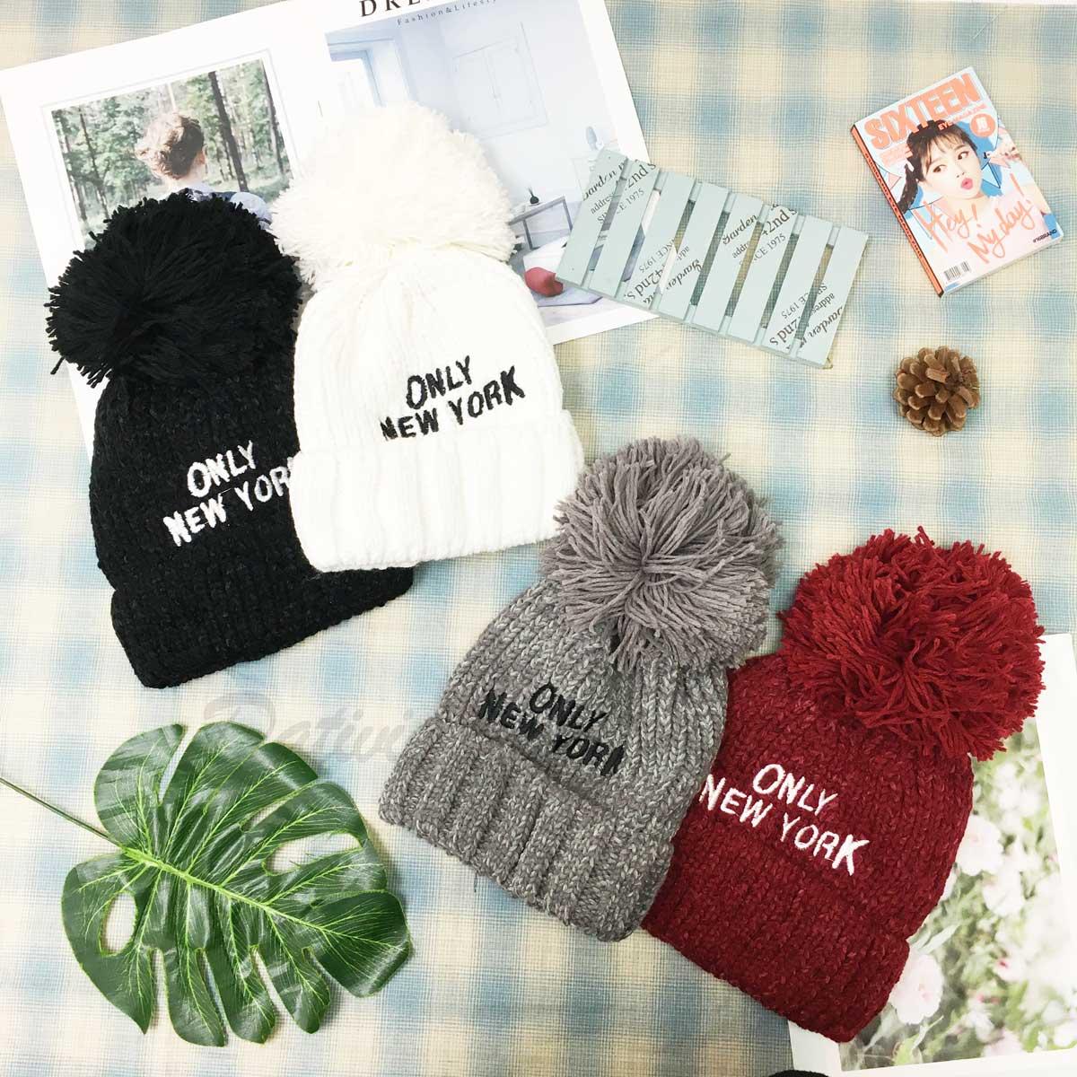 帽子 毛球 內刷毛 紐約客 潮流 嬉皮 編織 毛帽 四色