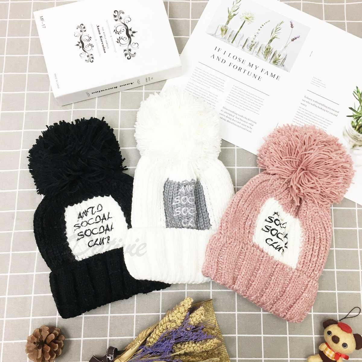 帽子 潮流 字母 文字 毛球帽 毛線編織 內刷毛 保暖 三色