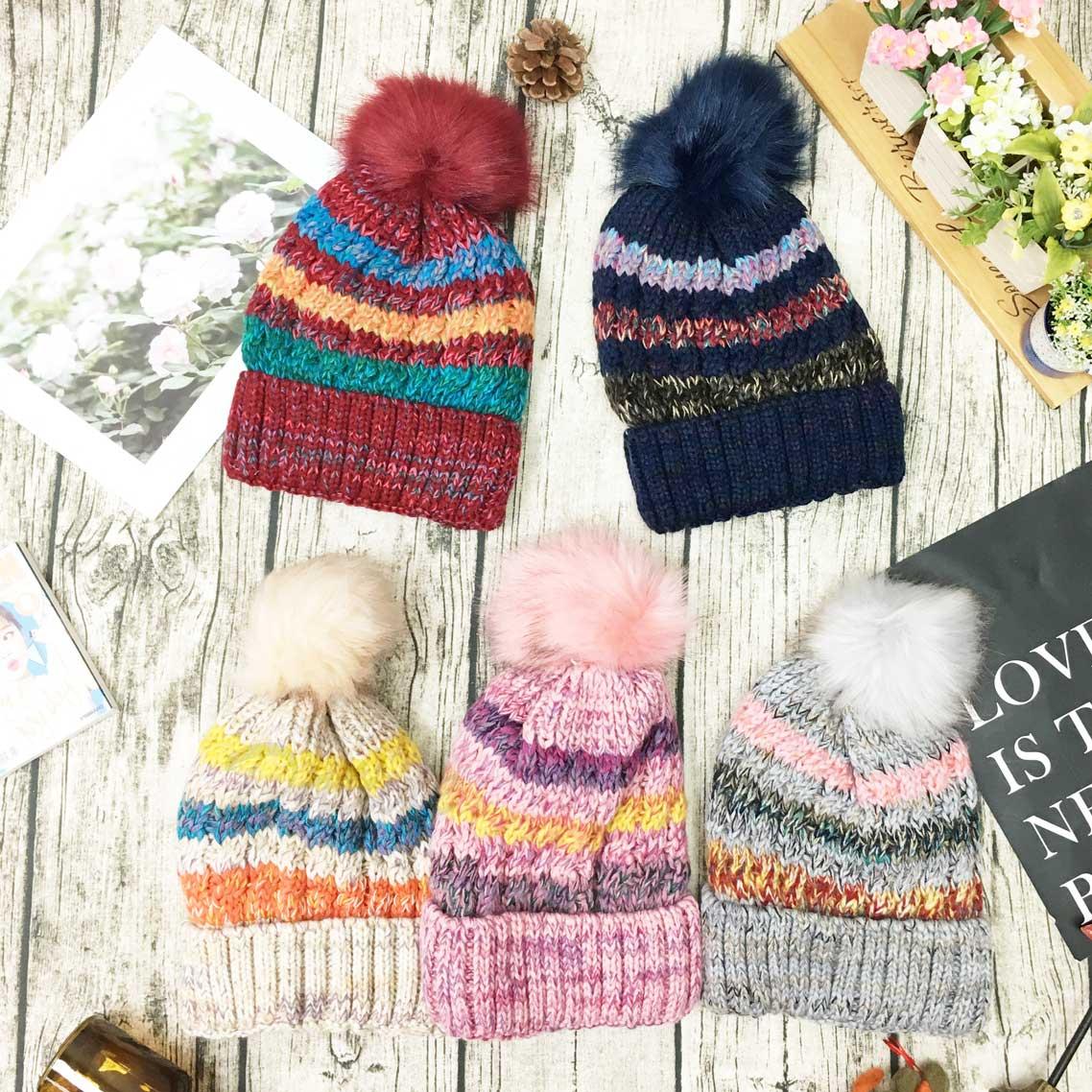 帽子 條紋 混搭 撞色 毛線編織 內刷毛 毛球毛帽 保暖 五色