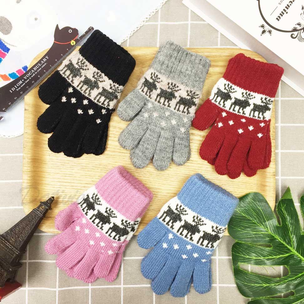 兒童手套 麋鹿 針織 手套 保暖 五指手套 五色