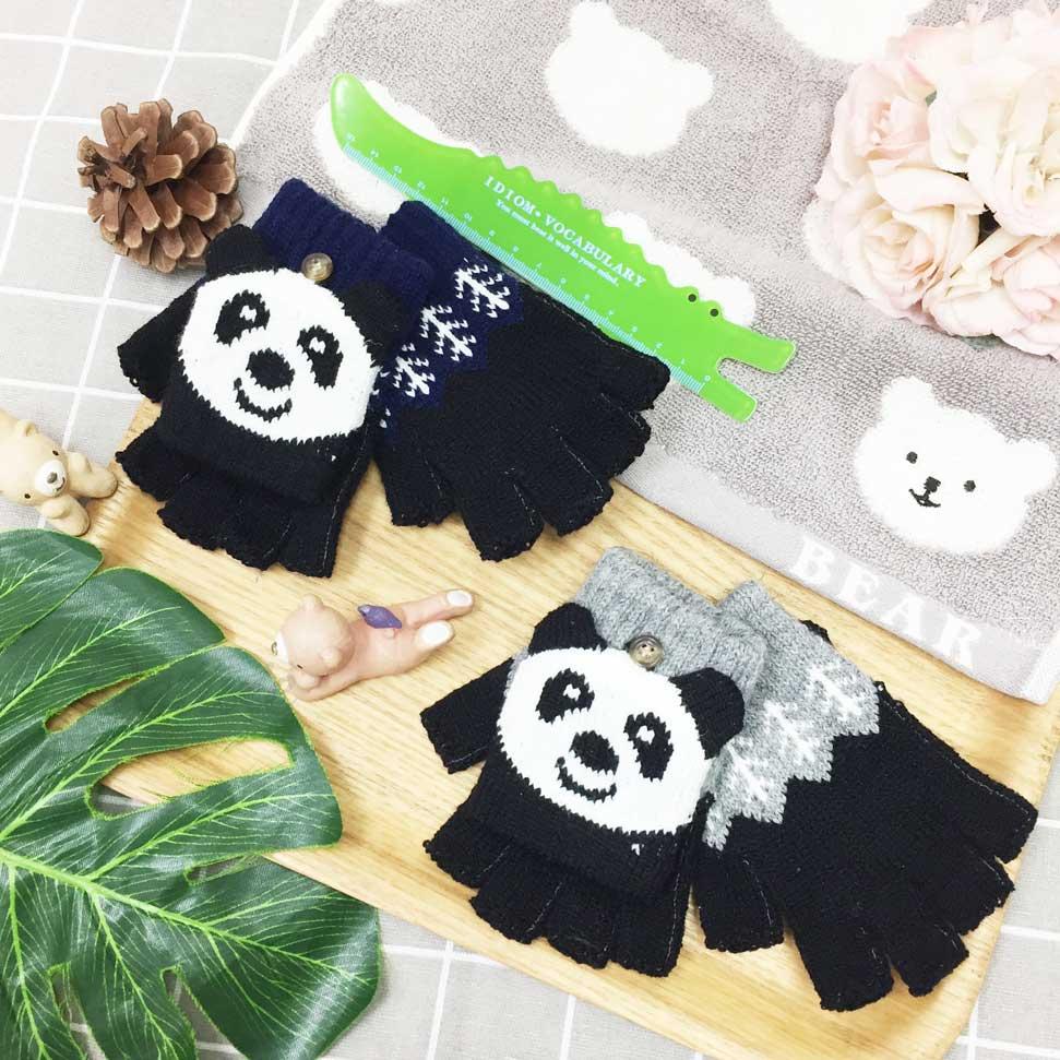 兒童手套 可愛 熊貓 半指手套  連指手套 多用 可收起 卡通造型 二色