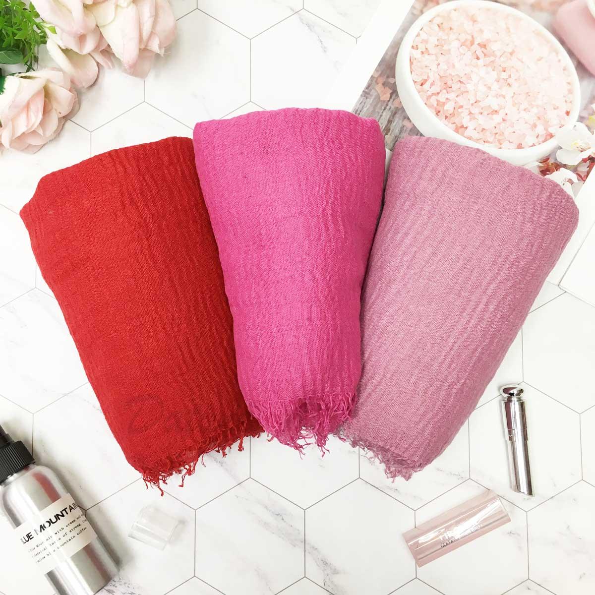 圍巾 素面 不收邊 抽鬚 簡約 紅 桃 藕粉 薄圍巾 三色