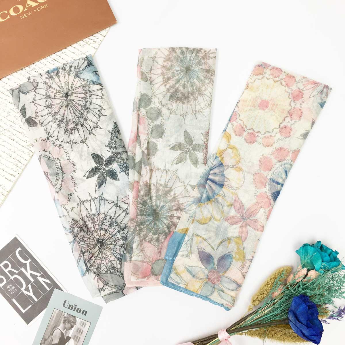 絲巾 花朵 綜合 混搭 印花 渲染感 薄圍巾 方巾 雪紡 三色