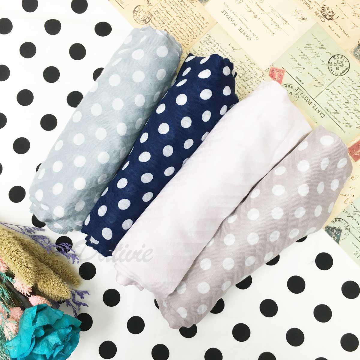 絲巾 點點 條紋  混搭 薄圍巾 保暖 四色