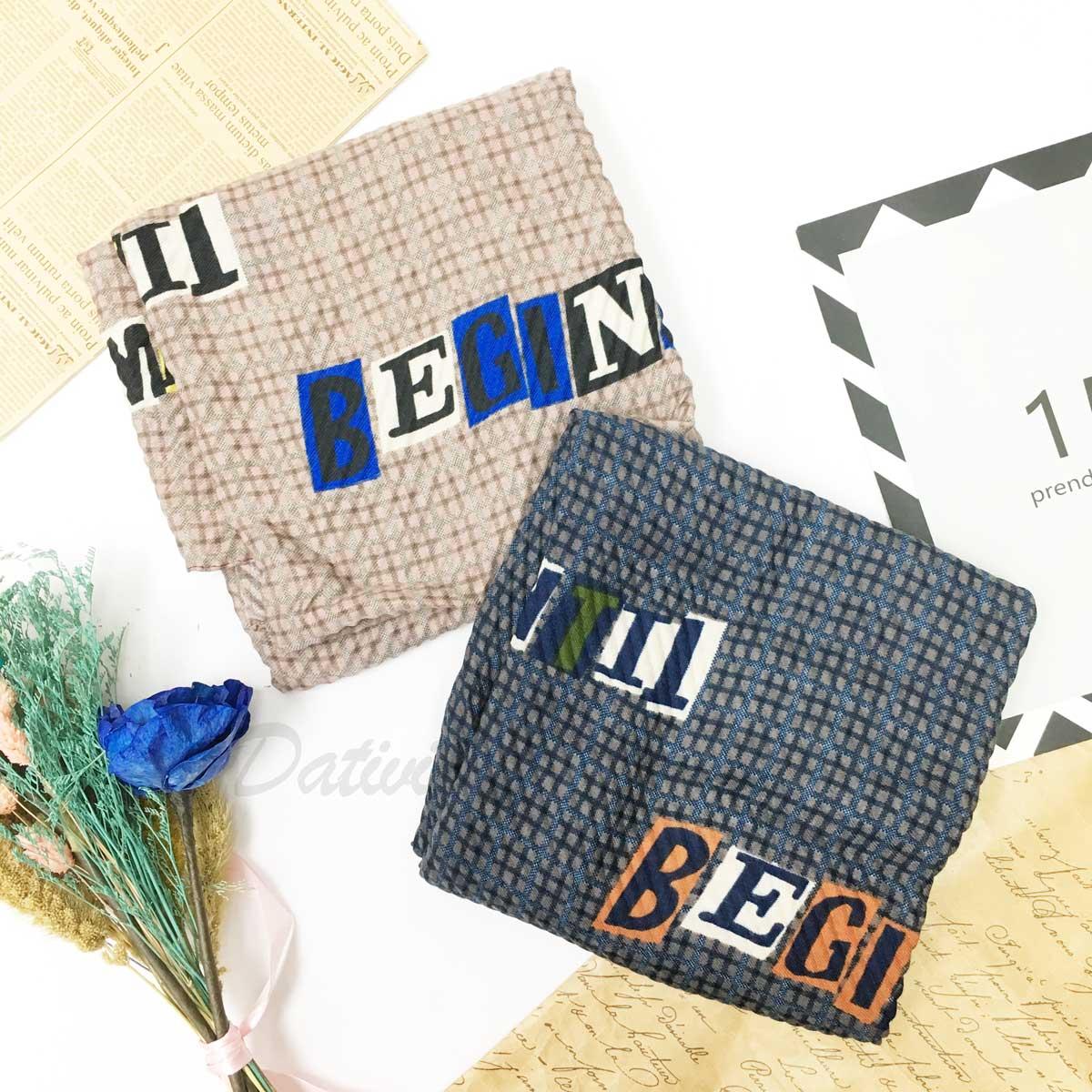 圍巾 字母 混搭 秋冬款 薄圍巾 二色