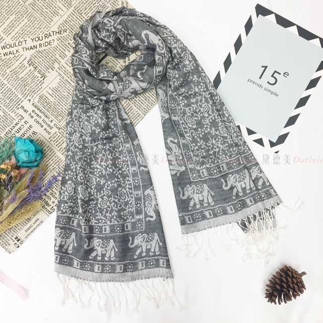 絲巾 薄圍巾 泰式風情 大象 民族風 流蘇