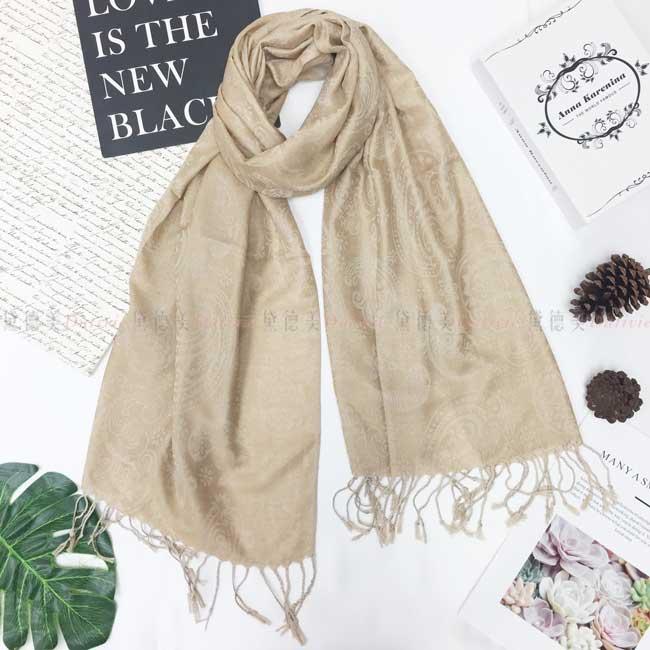 絲巾 薄圍巾 米色 民族風 變形蟲 圖騰