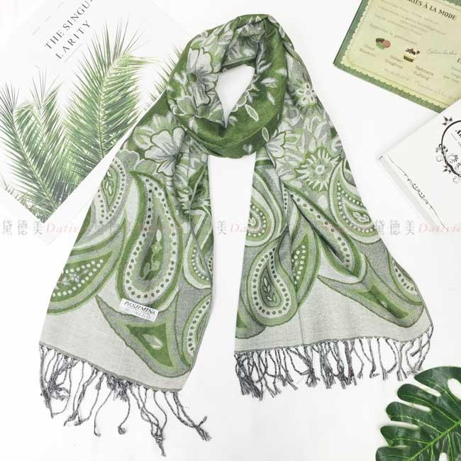 絲巾 薄圍巾 綠色 民族風 變形蟲 圖騰 花