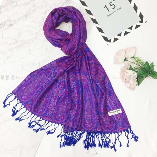 絲巾 薄圍巾 紫藍色 民族風 圖騰 隨興