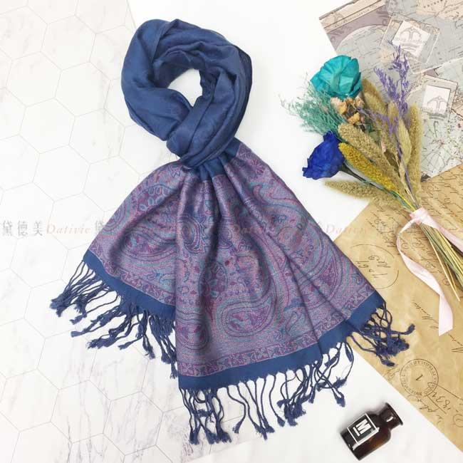 絲巾 薄圍巾 藏藍色 民族風 圖騰 個性