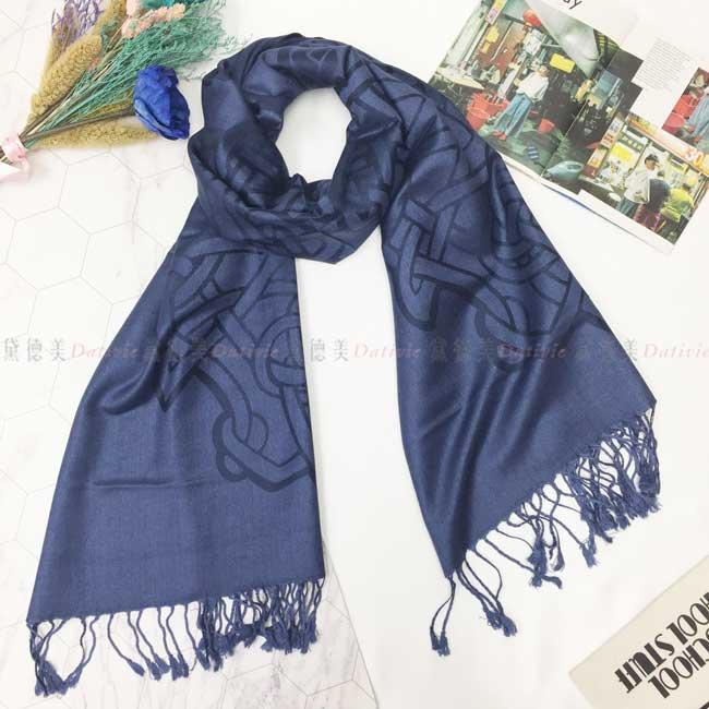 絲巾 薄圍巾 藏藍色 鎖鏈 窗花