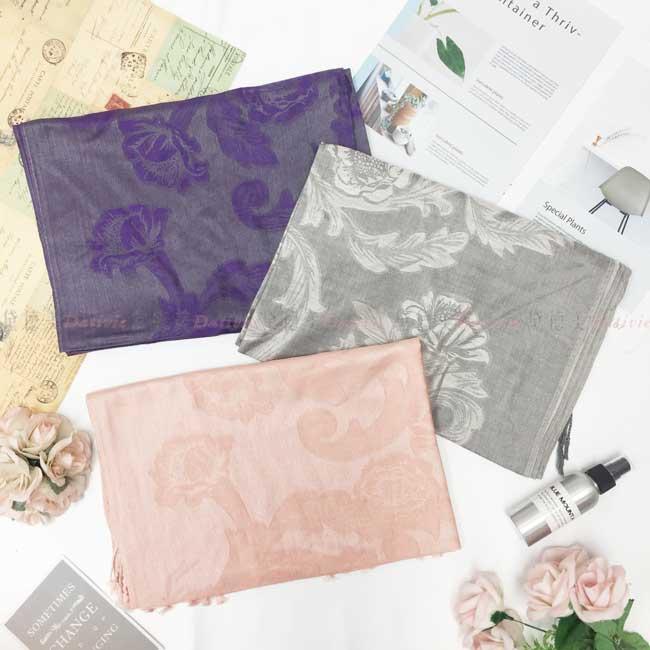 絲巾 薄圍巾 花朵 貴氣 3色