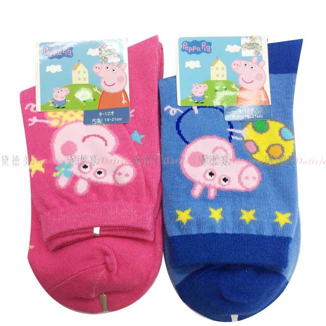 襪子 佩佩豬 中筒襪 二分之一襪 粉紅小豬 19~21 兩款 正版授權
