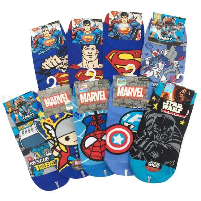 襪子 超人 機器戰士 復仇者聯盟 星際大戰 直版襪 中 卡通 15~22CM 正版授權