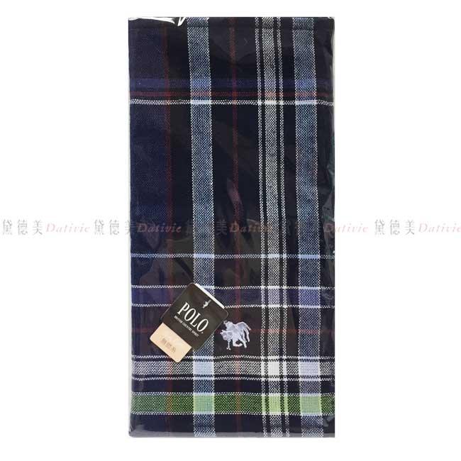 日本製 手帕 大格紋 深藍 POLO 小方巾 優雅 親膚 棉麻 日本手帕