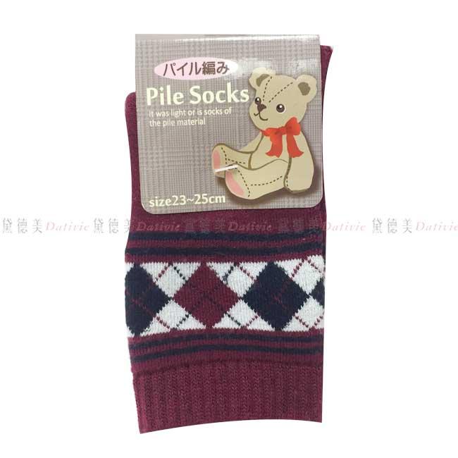 日本製  襪子 長襪 止滑 菱格紋 花邊 酒紅 親膚 棉23~25CM