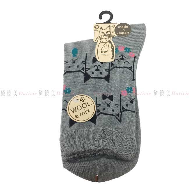 日本製  襪子 長襪  貓咪 可愛 造型襪 灰色  親膚 棉23~25CM
