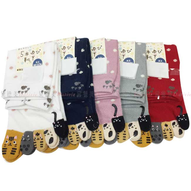 襪子 長襪  繽紛 五指襪 止滑 可愛 造型 動物世界 點點  親膚 棉22~25CM  五款選