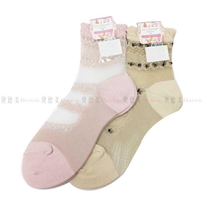 日本製 襪子 高筒 刺繡 蕾絲 滾邊 公主風  漁網襪 透膚 粉 米 兩款  22~24CM