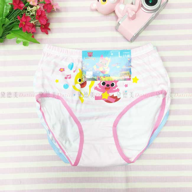 兒童內褲 Baby Shark 純棉 L 條紋 女童 粉色藍色 2入組 正版授權