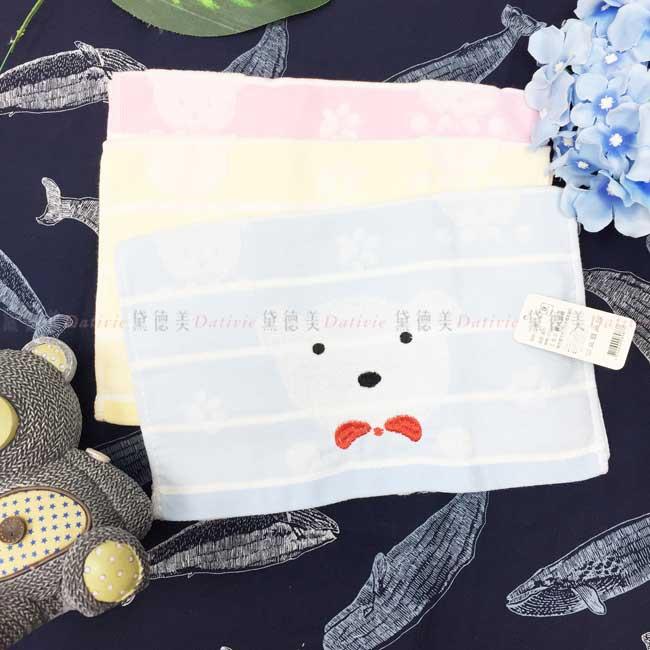 童巾 熊熊 腳印 條紋 3色 100%純棉