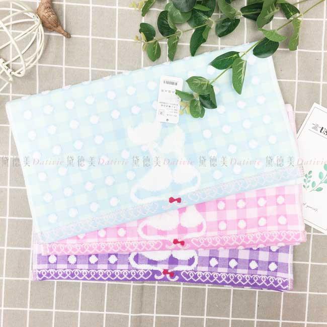 毛巾 100%棉 貓咪 愛心 雙簍空心 格紋造型 3色