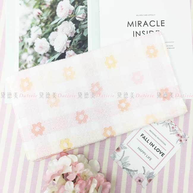 毛巾 格紋 花朵 滿版 100%純棉 柔軟 親膚 長巾