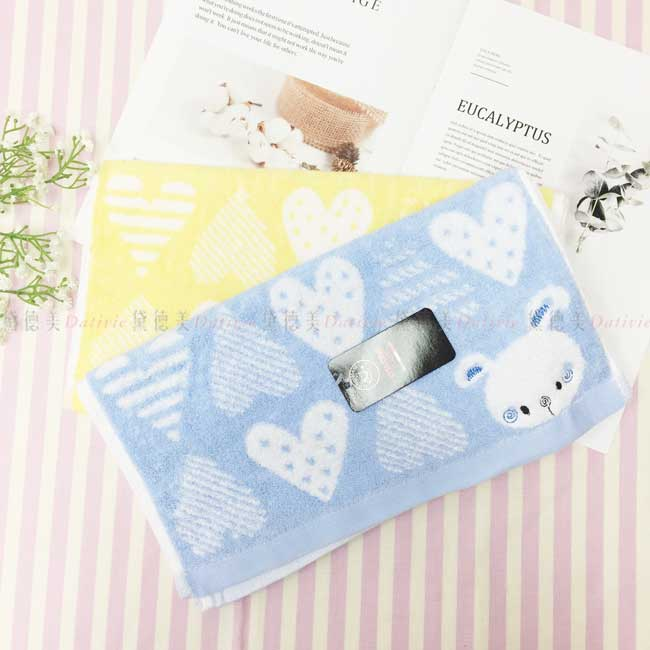 長巾 兔子 變化愛心 2色 黃色藍色 100%棉 毛巾